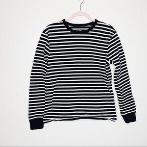 Everlane • Black & White Striped Crew Sweatshirt